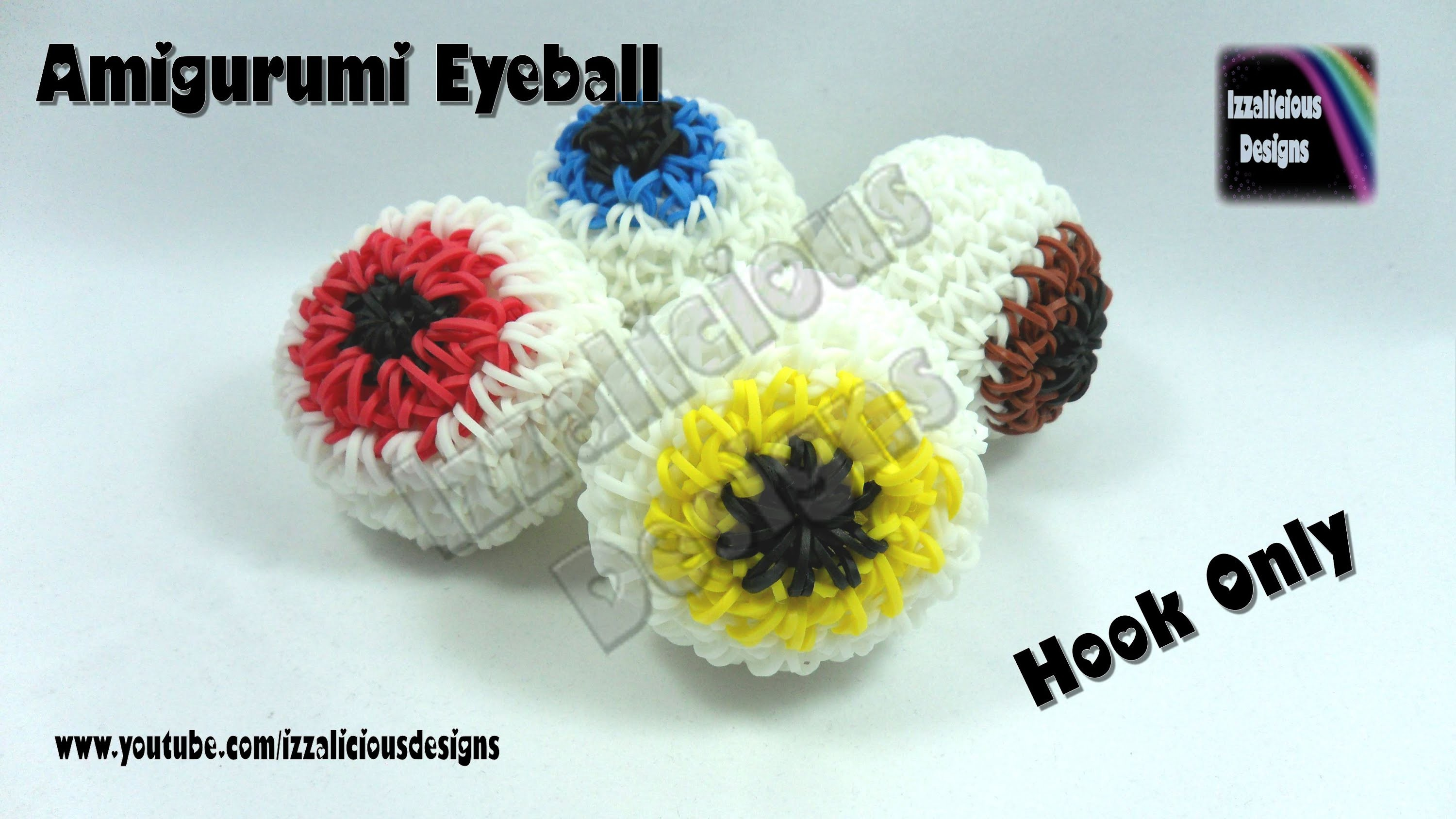Rainbow Loom (Halloween) Amigurumi Crochet 3D Eyeball Charm  - Loom-less.Hook only