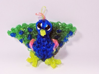 Rainbow Loom: PEACOCK Charm: How To Design. Tutorial (DIY Mommy Animals)
