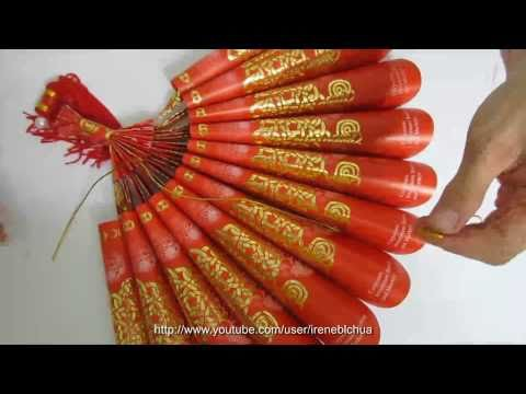 TUTORIAL - How to make a Paper Fan Ornament using Red Packet (Hong Bao Paper)