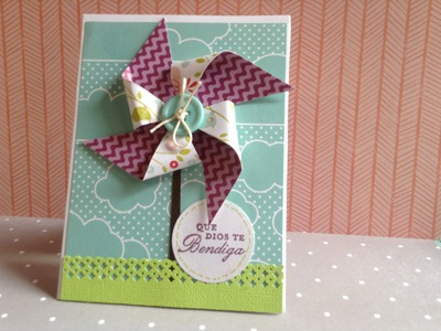 TUTORIAL Tarjeta Rehilete.Pinwheel card DIY Scrapbook