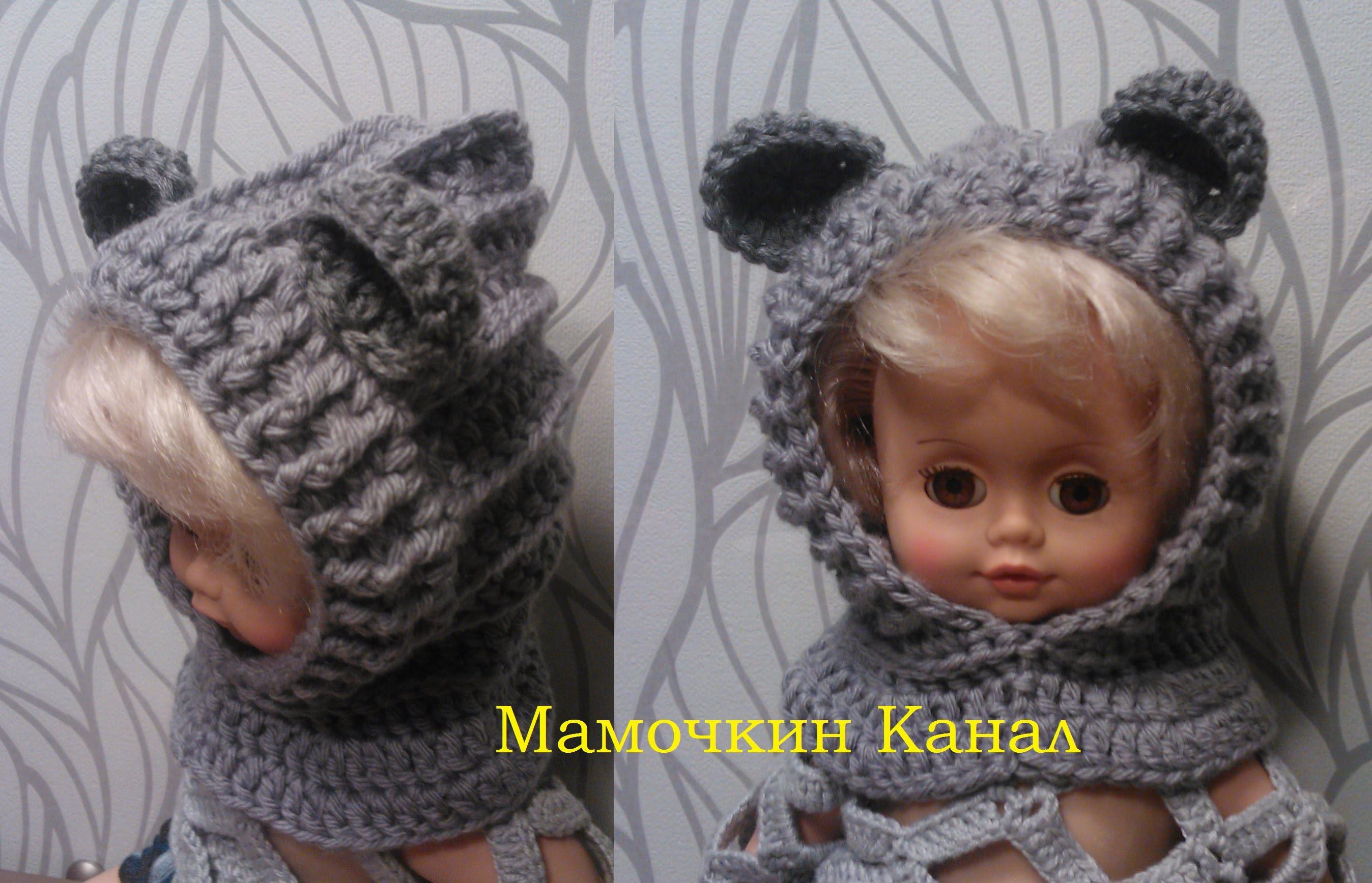 Теплая детская шапка с ушками вязаная спицами для мальчика 26