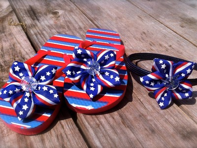 DIY 4th of July Girls Flip Flops
