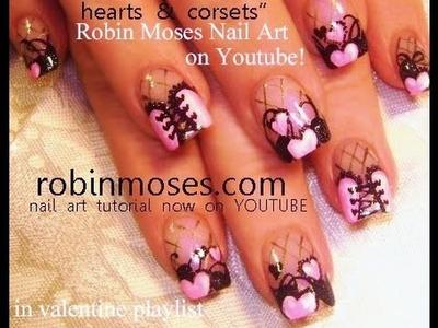 Easy Nail Art Tutorials   DIY Pink Corset Nail Art   Valentine's Day Nail Design!
