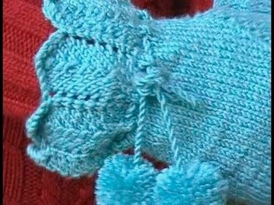 HOW TO KNIT FINGERLESS GLOVES - With individual fingers and lace cuff. Part 1 of 3