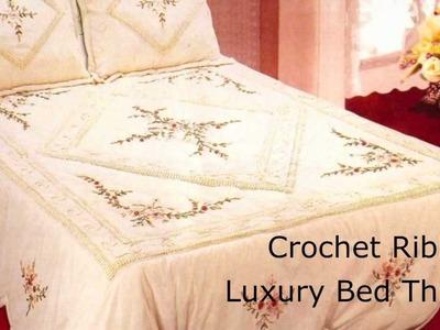 Luxury Crochet Ribbon Bed Throw
