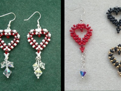 Beading4perfectionists : Simple Valentine Heart earrings with superduo beads beading tutorial
