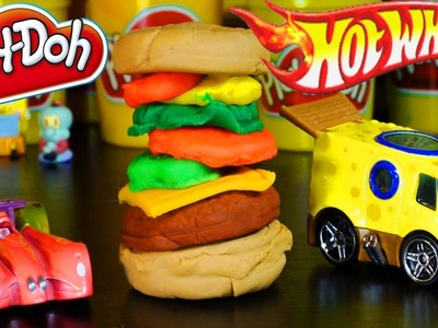 Play Doh Spongebob Krabby Patty How To Tutorial With Hot Wheels Cars Spongebob and Patrick