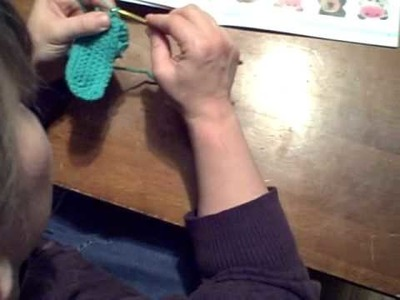 Round 5 of how to crochet the purse base