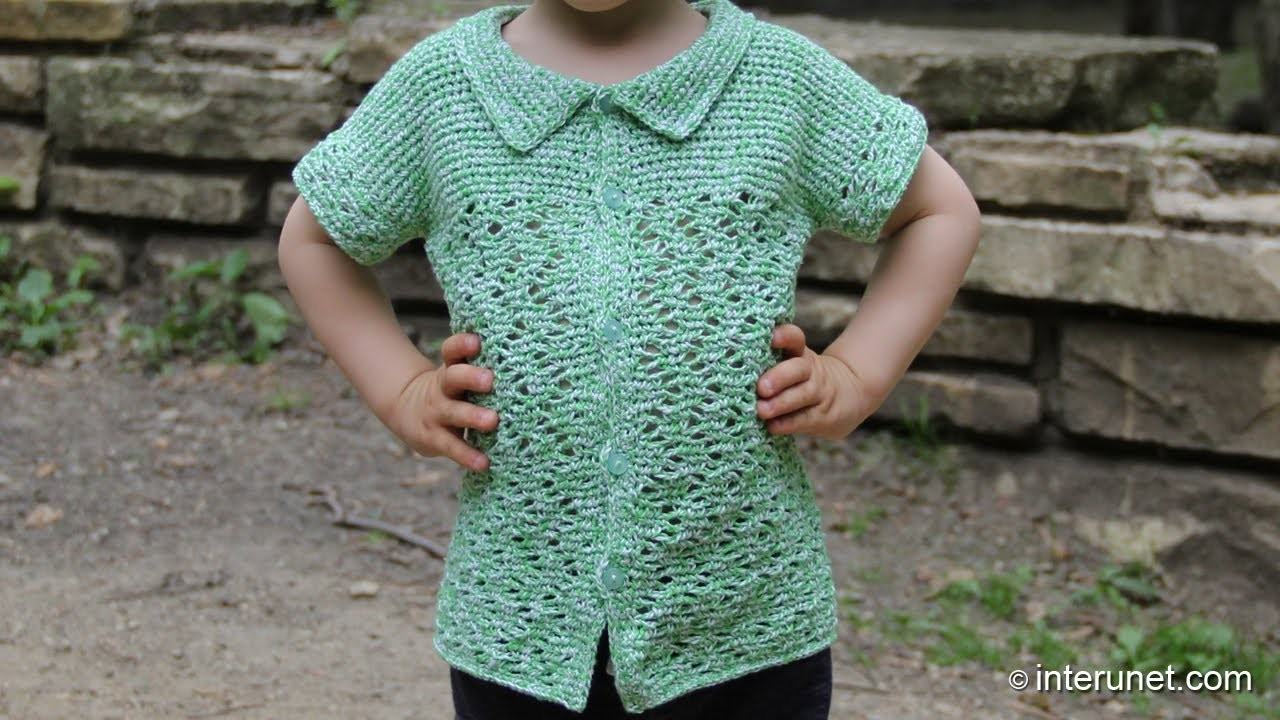 Crochet a shirt with a collar, short sleeves, and buttons down the front for a toddler boy