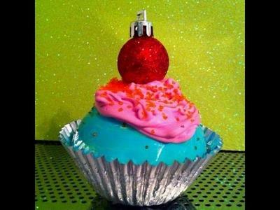 DIY Christmas Ornament CUTE CUPCAKE ORNAMENTS! so cute!!