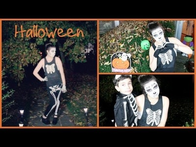 DIY Skeleton Halloween Tutorial! (Sugar Skull Makeup, Hair, & Costume)