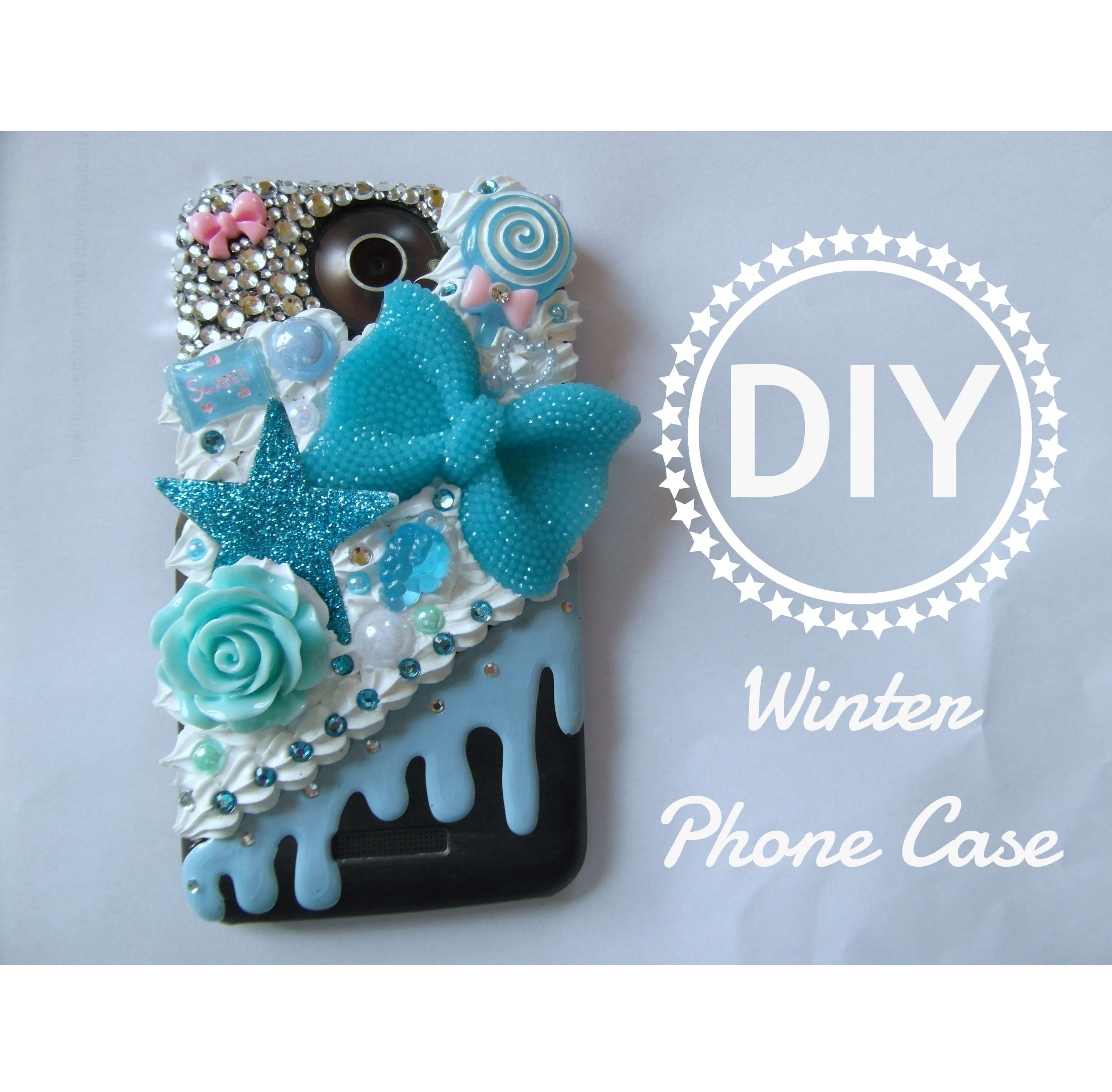 DIY Winter Phone Case. Decoden. Bling