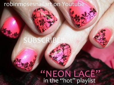 Easy Nail Art Tutorial for Short Nails! | DIY Lace Nails | Pink & Black Design