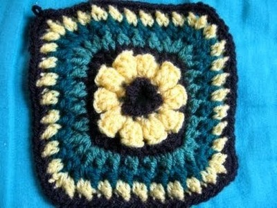 Flower Granny 6'' Square - Crochet Tutorial -Flower granny crochet