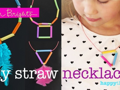 How to make 2 DIY necklaces using drinking straws: triangle and square designs