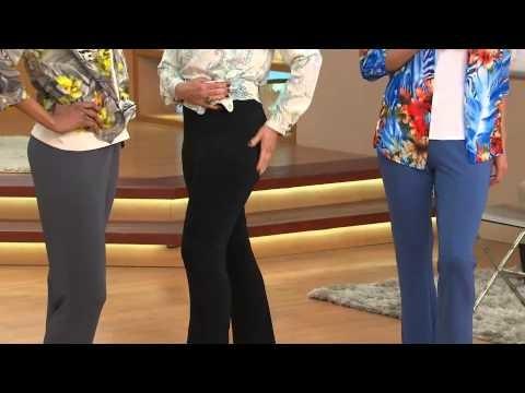 Susan Graver Regular Premier Knit Slim Boot Cut Pants with Courtney Cason