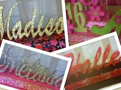 Sweet 16 Centerpiece Idea - Styrofoam Centerpiece DIY - Styrofoam Names