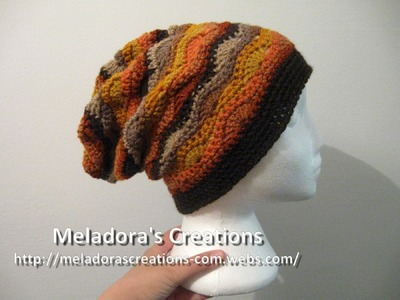 Wavy Stitch Slouch Hat - Left Handed Crochet Tutorial