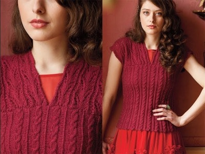 #14 V-Neck Lace Shell, Vogue Knitting Early Fall 2013