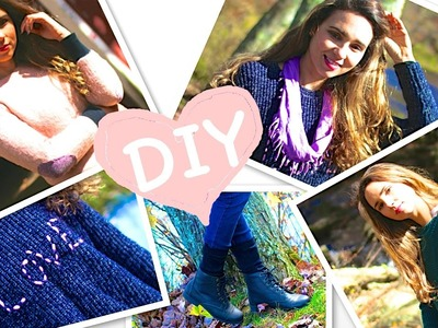 DIY Clothes! 5 Easy DIY for Fall. Winter (Swatters, Scarf, Leg Warmer) No sew!