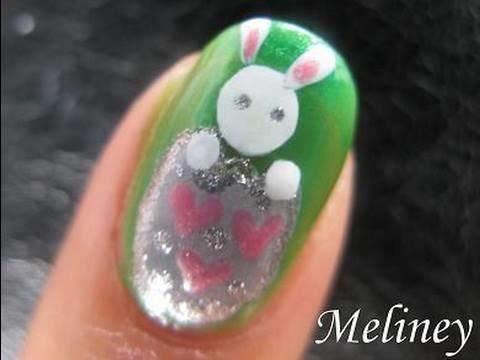 Easter Nail Art Tutorial - Easter Egg Bunny Animal Design for short nails spring break How to DIY