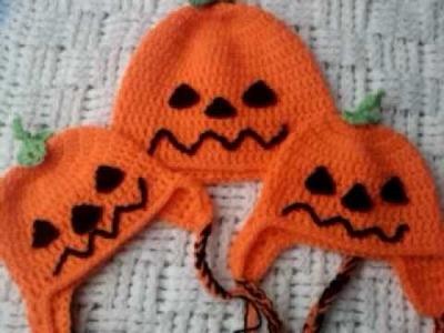 Halloween pumpkin crochet ear flap hats