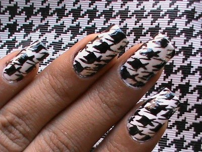 Houdstooth Nails - Pattern Nail Art Designs tutorial DIY step by step Video nail polish ideas