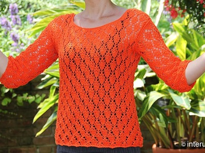 Knitting autumn leaves pattern blouse. Part 3 of 3