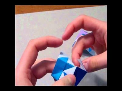 Modular Origami:  Sonobe Cube Hybrid (12 units)