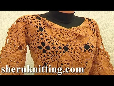 Seamless Square Motif Cardigan Crochet Pattern Tutorial 5 Part 2 of 2 Joining Square Motifs