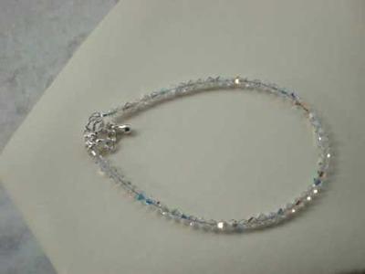Swarovski clear crystalAB beaded ankle bracelet