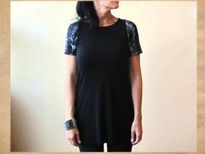 Women's Black Tunic Top with Painted Detail
