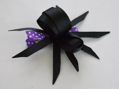 #1 CREEPY SPIDER Ribbon Sculpture Halloween Holiday Hair Clip Bow DIY Free Tutorial by Lacey