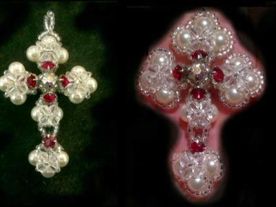 Beading4perfectionists : Victorian cross made with Swarovski and miyuki beads tutorial