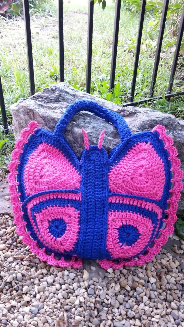 #Crochet Butterfly Handbag Purse #TUTORIAL DIY BUTTERFLY. DIY CROCHET.