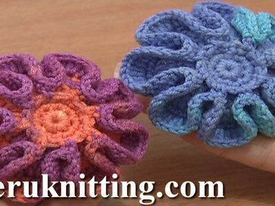Crochet Stuffed Flower Button Tutorial 5 Part 1 of 2 Crochet Flower on Plate