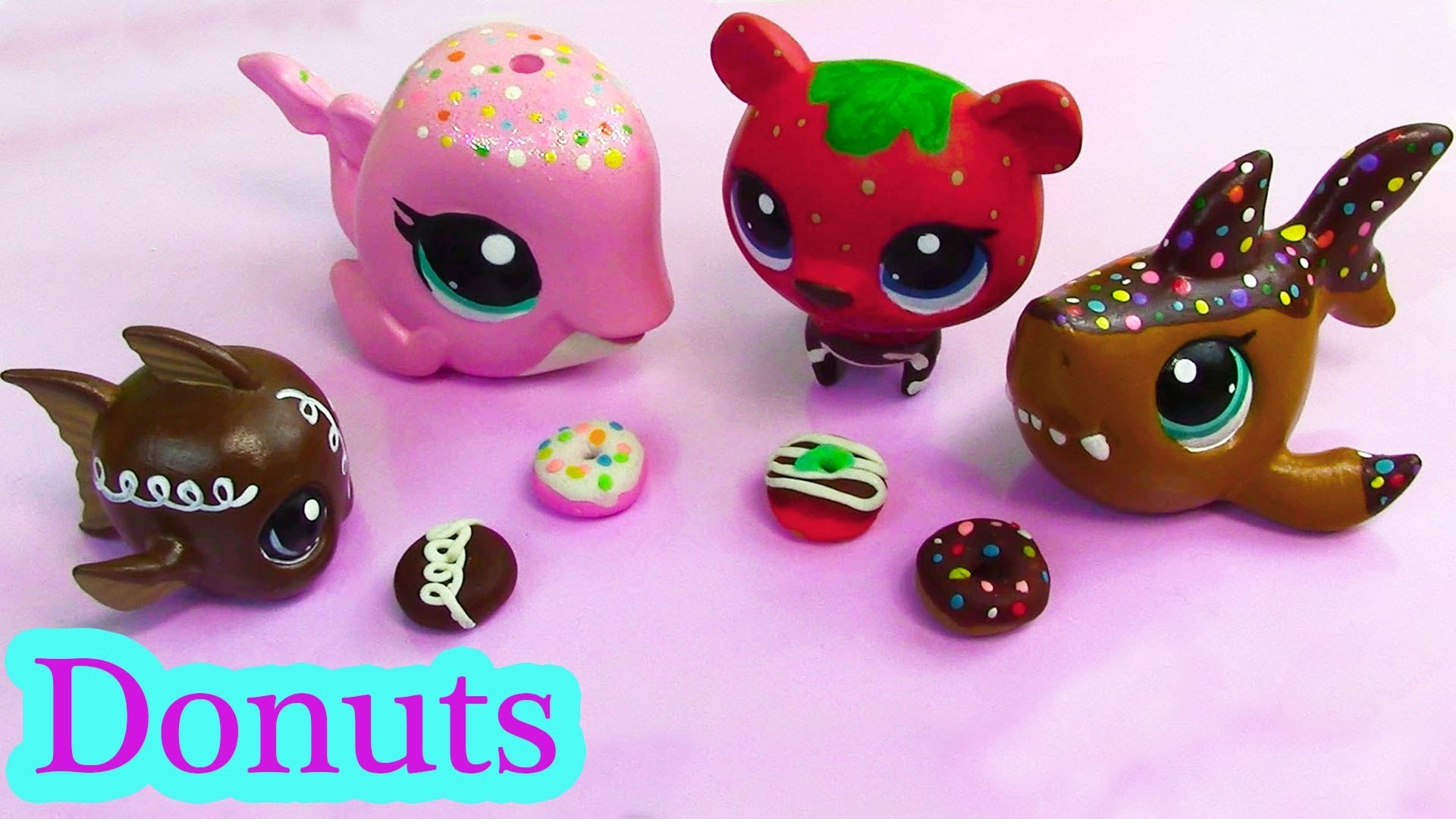 Littlest Pet Shop Play Doh DONUTS  Custom DIY Mini LPS Food Playdoh