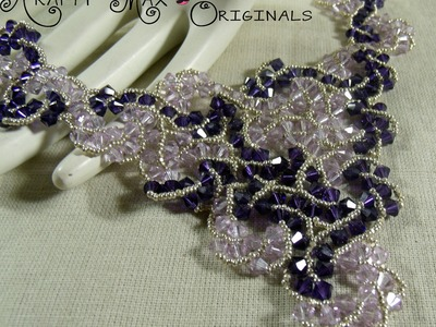 Purple Swarovski Crystal Swirl Beadwoven Lace Necklace and Earrings