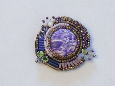 BeadsFriends: Beaded embroidery pin with polymer clay cabochon, bugles and Swarovski bicones