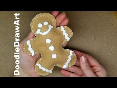 Craft: How to Sew a Stuffed Toy. Christmas Tree Ornament - Make a Gingerbread Man. Gingerbread Boy