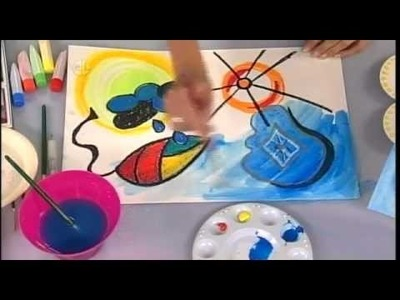 Crafts for Kids: Miro Inspired Surrealist Watercolor Resist Painting