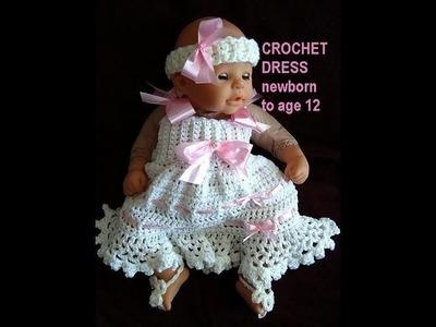 CROCHET SUNDRESS, newborn to age 12, free crochet pattern, crochet baby dress