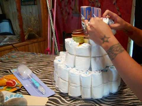 Diy  how to diaper cake gifts for baby showers step by setp tutorial