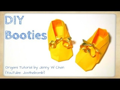 DIY Origami Booties - How to Make Paper Shoes. Sneakers - Baby Shower Gift Idea - Paper Crafts