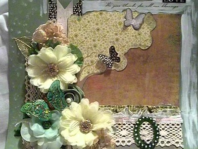 Green altered flower shabby chic shimmering scrapbook  layout