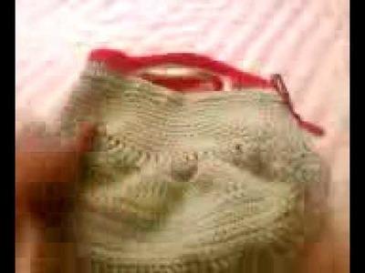 Green & Red crochet hobo bag