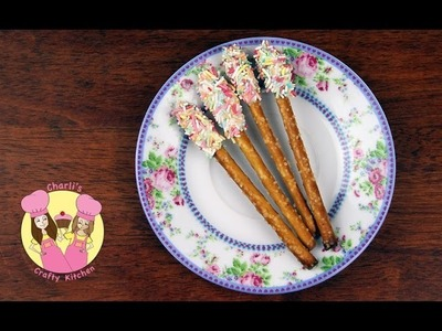 Make PRETZEL POPS - Easy and cute idea for a fairy princess party wand!  Tutorial by Charli & Ashlee