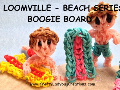 Rainbow Loom Band BEACH.SWIM BOOGIE.SURF BOARD EASY Charm Tutorials.How to Make by Crafty Ladybug