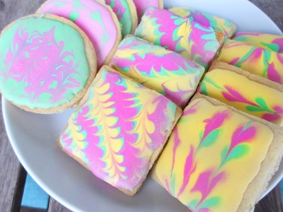 Royal Icing. Marbled. Hippie Cookie DIY - Tutorial