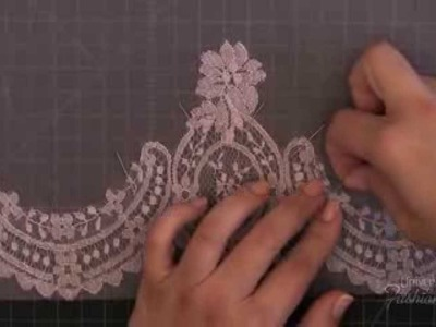 Sewing: How to make a lace applique using blanket hand stitch technique